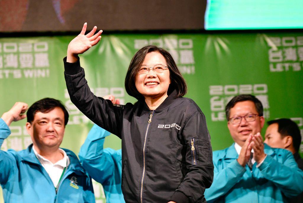 1月11日晚,2020年台灣總統大選結果揭曉,現任總統、民進黨總統參選人蔡英文以逾800萬票成功連任,為歷屆得票數最高的總統當選人。(Getty Images)