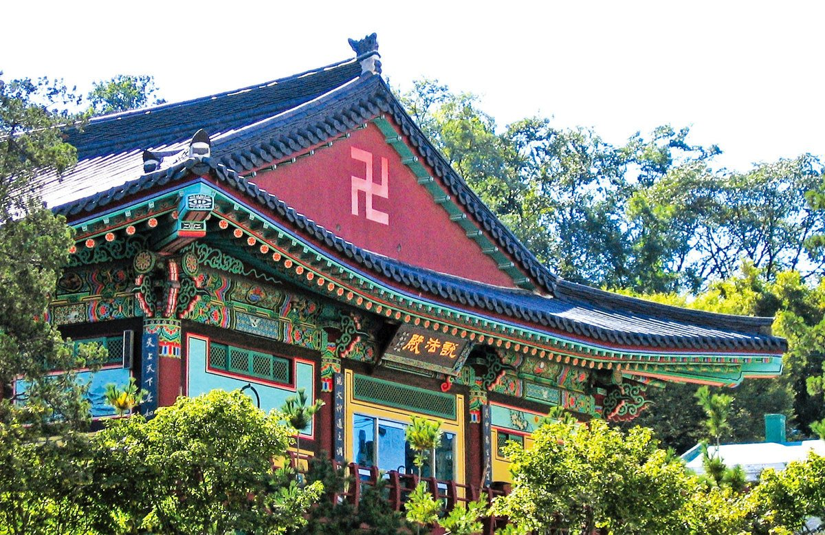 南韓首爾佛寺上的卍字。(Svdmolen _維基百科)