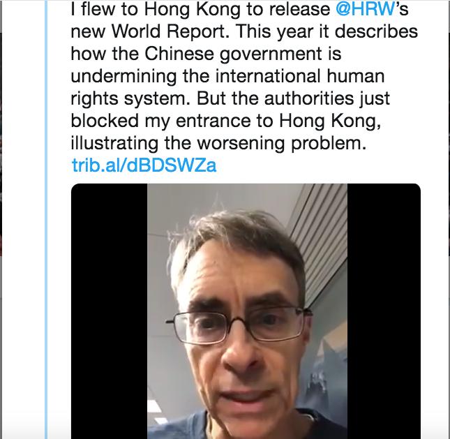 美人權觀察組織執行董事被拒入境香港