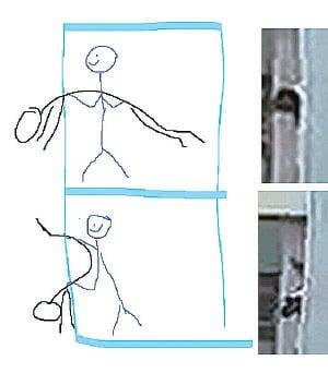 有網友素描模擬有人將墮樓男子推下樓,才會出現奇怪的肢體伸出氣窗姿勢。(網絡圖片)