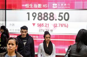 滬指跌5.33%恒指跌破2萬點