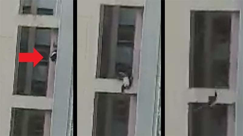 香港一名菲傭拍到港男高度疑似「被墮樓」的影片,網傳已被警方抓走。(影片截圖)