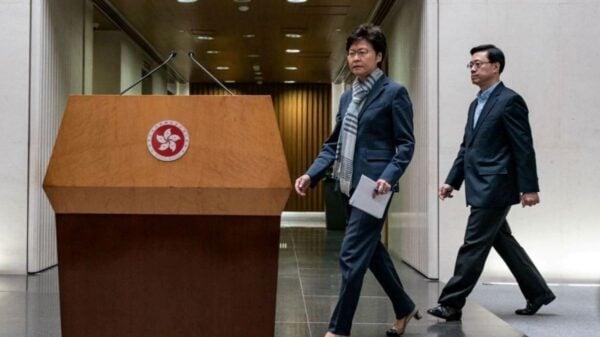 圖為林鄭月娥2019年11月11日在港府舉行的新聞發佈會。(Anthony Kwan/Getty Images)