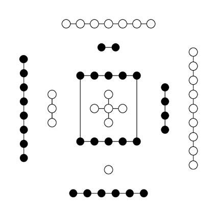 《河圖》中心五個白點組成了十字,而十字是卍字符的簡化。(Philolo/維基百科)