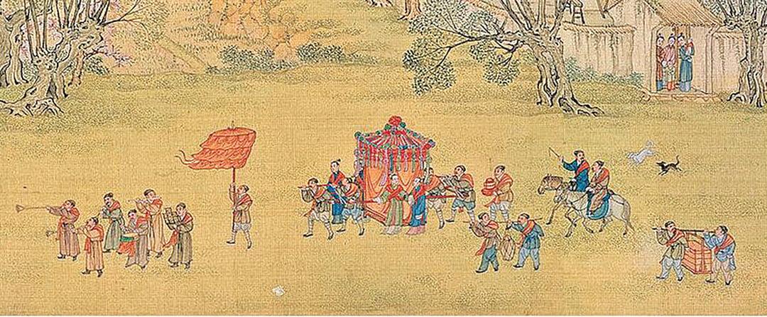 圖為清院本《清明上河圖》之婚禮娶親場景。(公有領域)