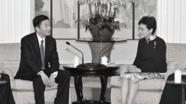 圖為2018年12月,時任中共山西省委書記駱惠寧(左)訪問香港,與特首林鄭月娥會面。(港府新聞處)