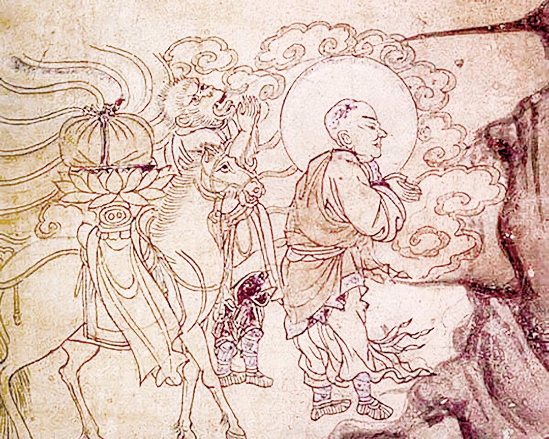 圖為敦煌壁畫中的玄奘取經圖。(公有領域)
