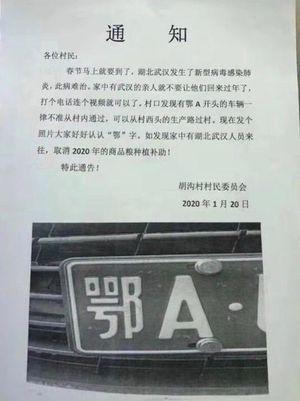 網傳胡溝村封鎖武漢車輛的通知。(網絡圖)