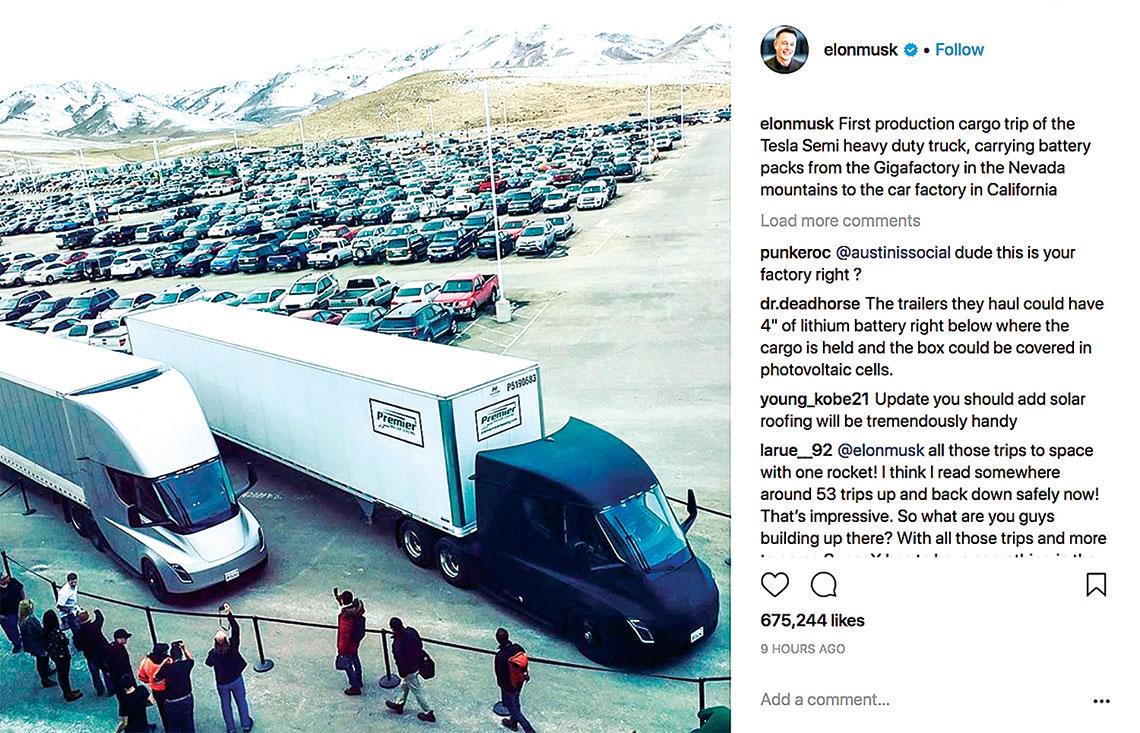 2018年3月,電動卡車Tesla Semi首次執行送貨任務。(推特截圖)