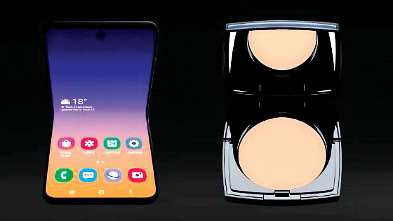 三星下一代折疊手機Galaxy Bloom(左),據說其設計靈感來自於法國化妝品公司Lancôme常見的化妝粉盒。(網頁截圖)