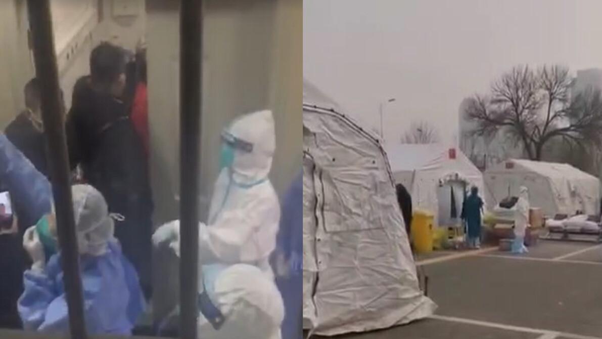 有大陸民眾冒死偷拍武漢醫院短片,真實情況令人極度心寒,整個城市處於哭泣無助狀態。(影片截圖)