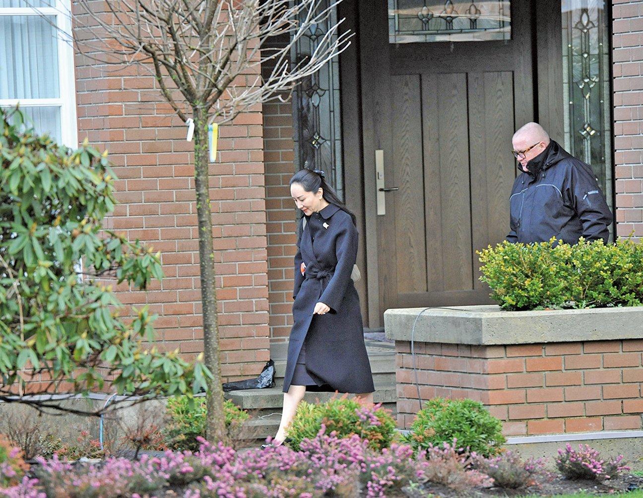 2020年1月21日,華為財務總監孟晚舟離家前往卑詩最高法院出庭引渡聽證。(AFP)