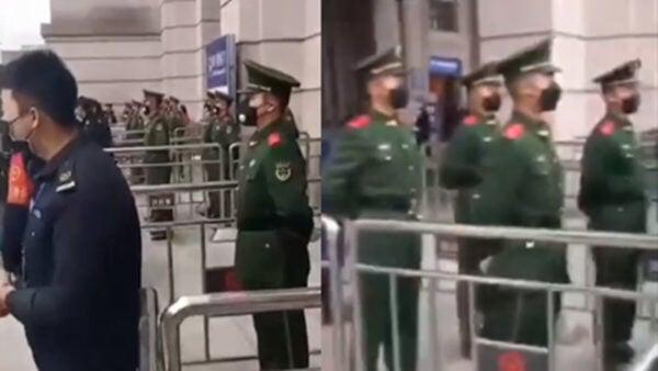 23日上午10宗,武漢市內機場火車站全部被軍警接管,進入軍管模式,市民不得離開。(影片截圖)