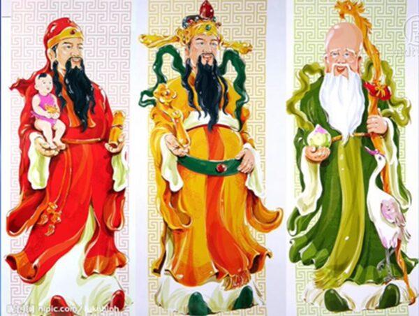 圖為福、祿、壽三位神仙。(影片截圖)