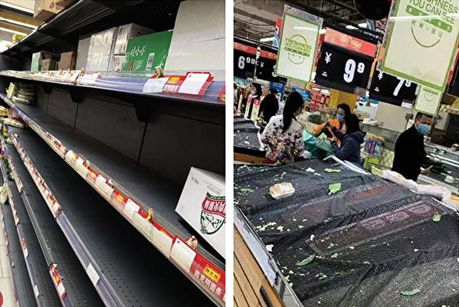 大陸各地封路防肺炎 物資匱乏 多地超市缺貨