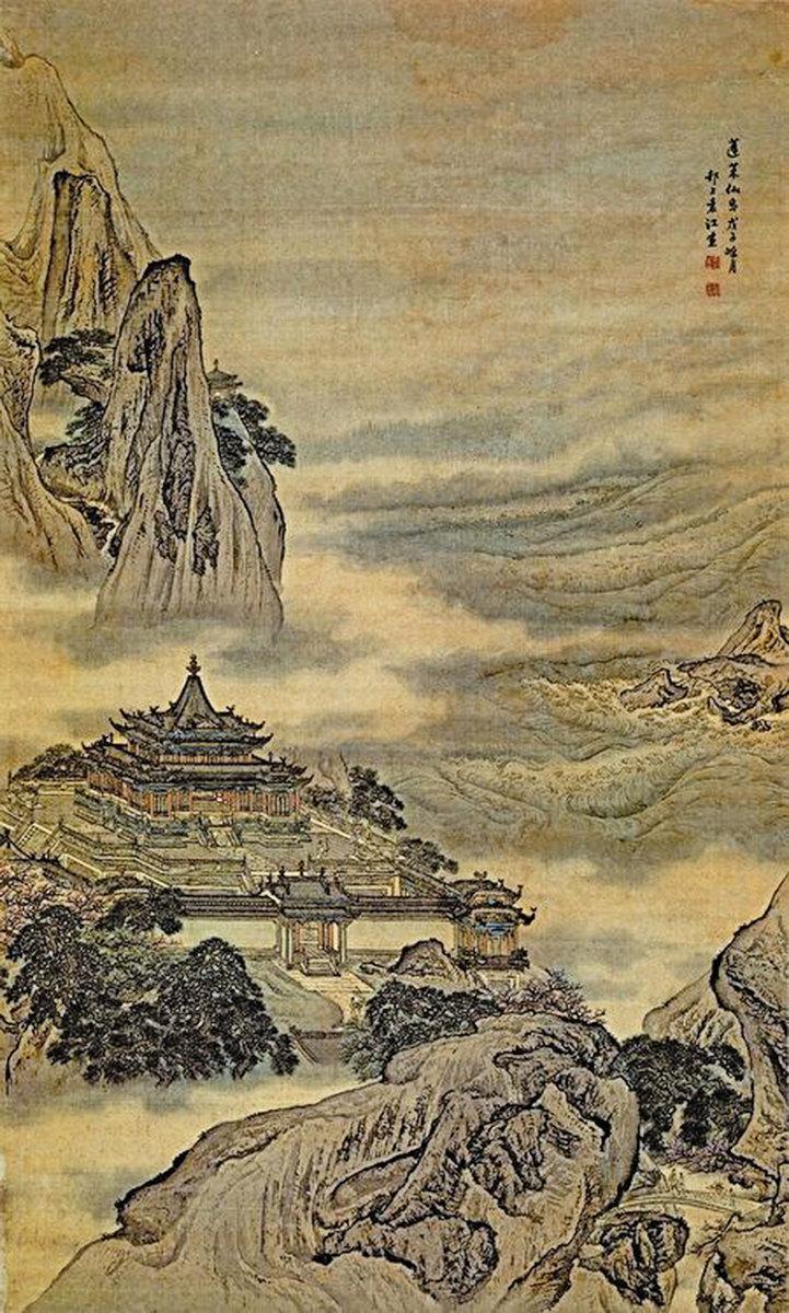 蓬萊山,為神仙居住的地方。圖為清 袁江《蓬萊仙島圖》。(公有領域)