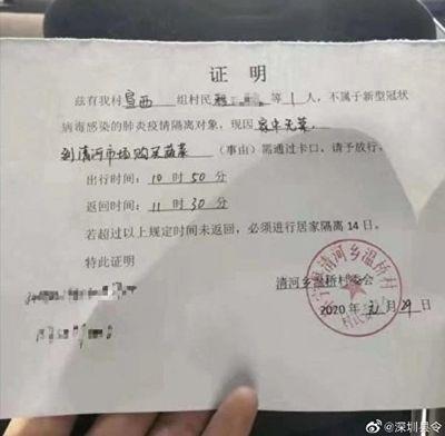 安徽省懷寧縣清河鄉買菜「證明單」。(網傳圖片)