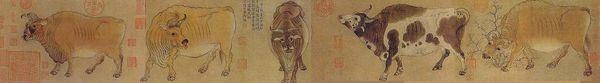 唐代韓滉〈五牛圖〉,現藏北京故宮博物院。(Shizhao/Wikimedia commons)