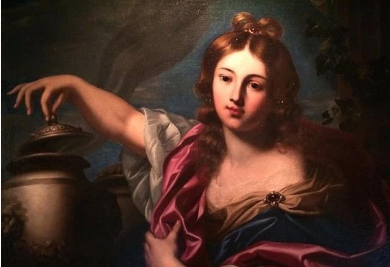 希臘羅馬神話故事中的潘多拉。油畫《潘多拉》是威尼斯畫派畫家尼古拉斯•雷尼爾(Nicolas Regnier 1591-1667)的作品。  原網址:https://kknews.cc/culture/v4pvl.html