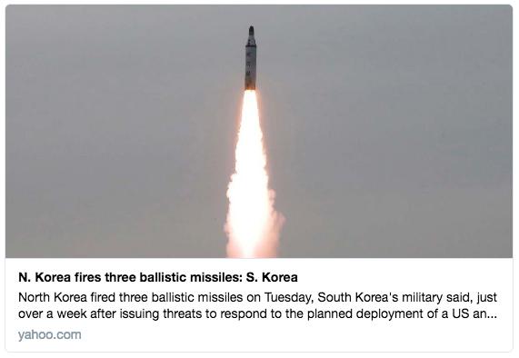 南韓軍方表示,7月19日(周二)一早,北韓向日本海發射了三枚彈道導彈。(推特擷圖)