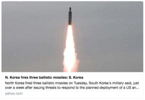 北韓向日本海再發三枚彈道導彈
