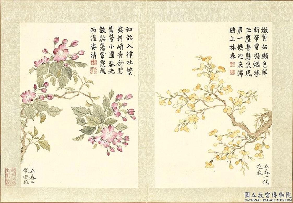 立春第一候的花信風,點開迎春花錦繡上春林《迎春花冊》。(國立故宮博物院提供)