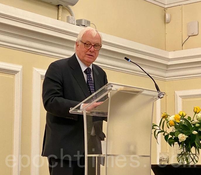 彭定康倫敦演講籲香港進行獨立調查政治改革