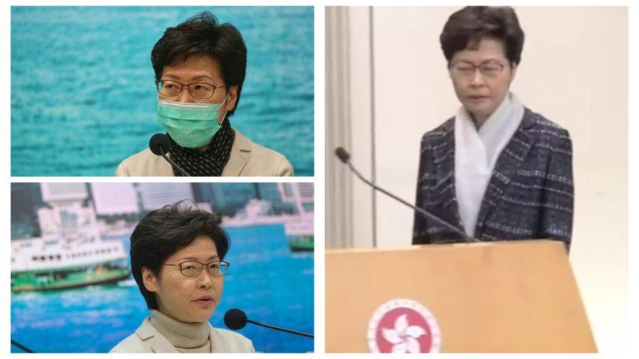 網傳香港特首林鄭月娥患淋巴癌,林鄭否認,但其著裝異常引發猜測。(網絡截圖)