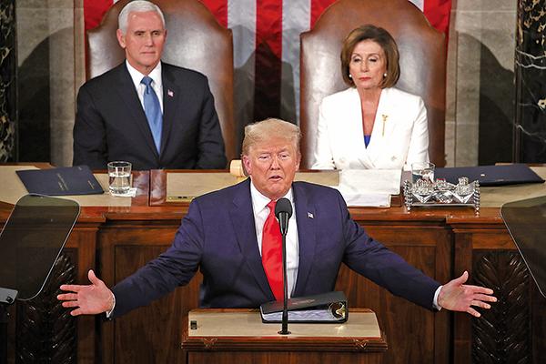 美國總統特朗普2月4日晚間,在國會聯席會議上發表第三次國情咨文講話,主題為「偉大的美國復興」。(Mark Wilson/Getty Images)