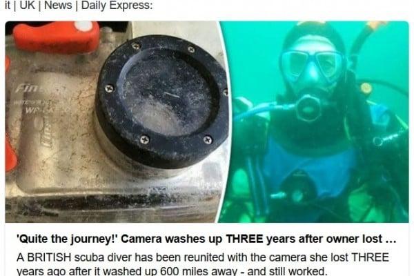英國女子德文夏爾(Adele Devonshire)3年前潛水時不慎將照相機遺落在海裏,此照相機經過漫長的一段旅程,最終於她重逢。(推特網頁擷圖)