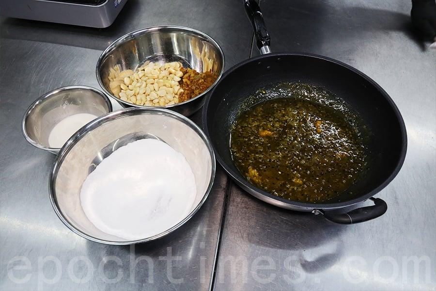 製作糖果的原料,選用來自日本的海藻糖和新鮮食材。(陳仲明/大紀元)
