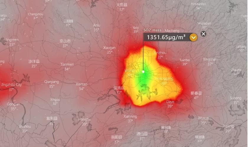 武漢周邊驚現超量二氧化硫 規模等於上萬具屍體焚燒
