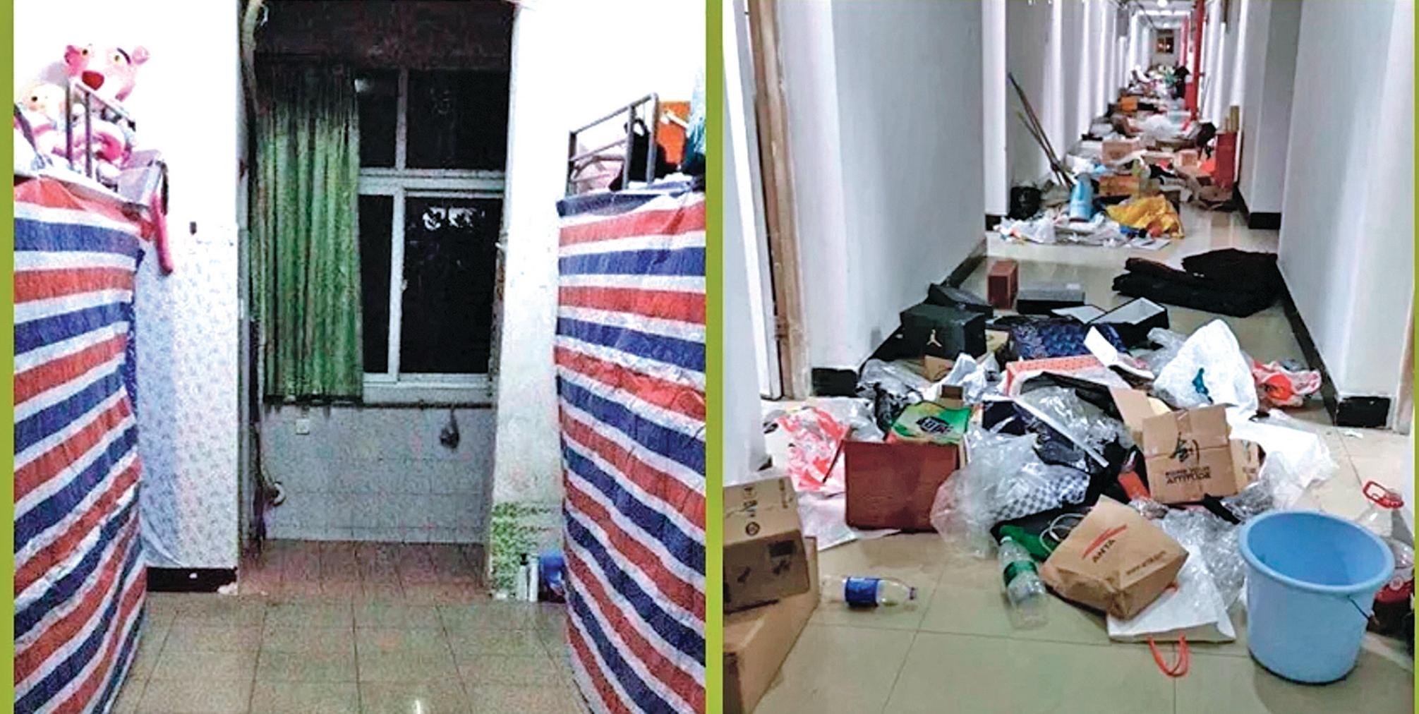 武漢疫情仍在蔓延,官方徵用校舍做病房,相關學生受到影響,紛紛抱怨沒被提前告知,東西被扔出。(網絡圖片)