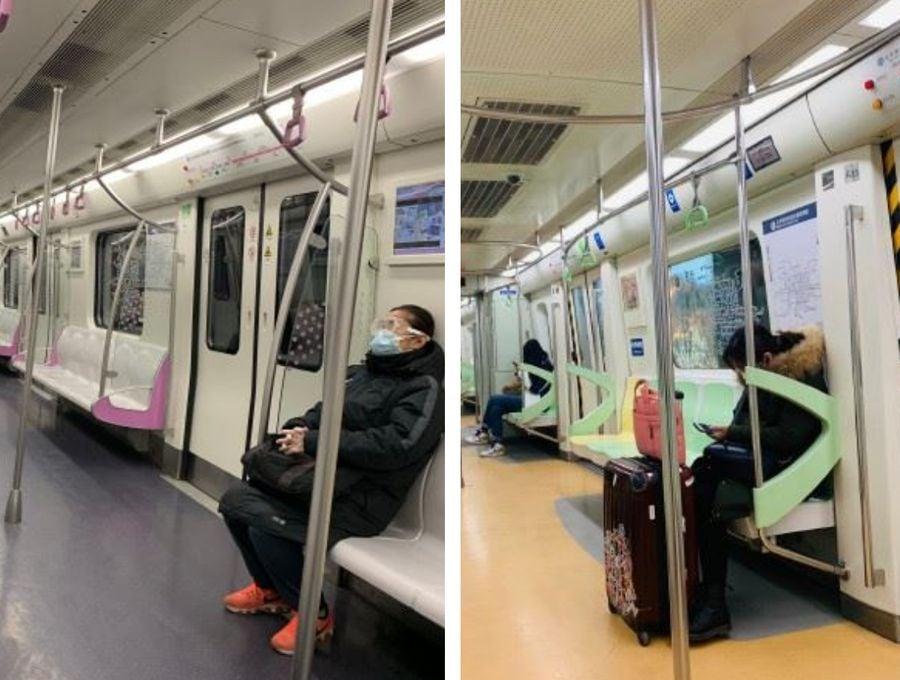 2月10日起迎來數百萬返工潮,目前人口流動規模是沙士時的6倍。未來4周,北京、上海、深圳、廣州等大城市將面臨巨大挑戰。圖為2020年2月10日北京地鐵車廂。(微博圖片)