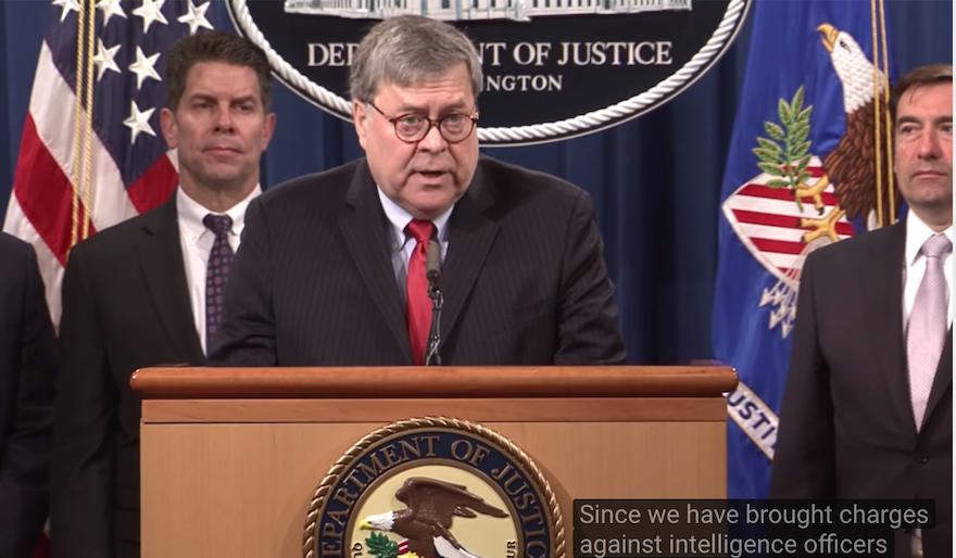 美國司法部召開記者會,起訴4名解放軍黑客。(美國司法部)