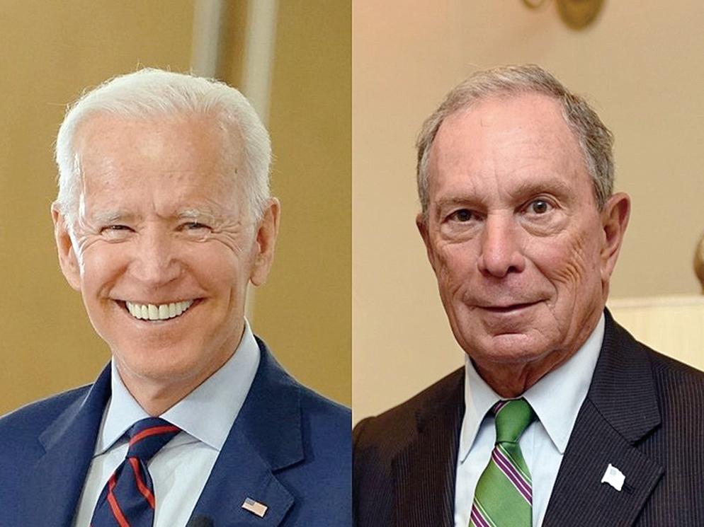民主黨參選人拜登(左)和彭博(右)。(圖取自臉書)