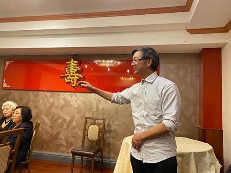 2020年2月10日,民主中國陣線主席梁友燦先生在會上發言。(主辦方提供)