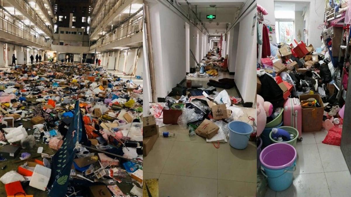 10多所武漢高校被徵用做隔離點。網上大量影片顯示,學生的私人物品被直接丟棄,還有安保人員淫笑著說,第一次住進女生宿舍。(合成圖片)