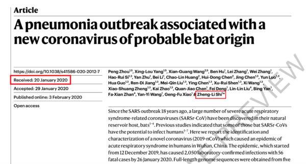 學術網站截圖顯示:石正麗團隊論述「武漢肺炎始於蝙蝠」的論文,投稿時間為1月20日。(新唐人配圖)
