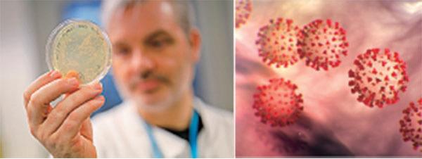左圖為帝國學院醫學院醫生手持新冠病毒DNA樣本,院方正研製治療病毒疫苗。(AFP via Getty Images)右圖為美國疾病與預防中心刊出的新冠病毒示意圖。(CDC網站)