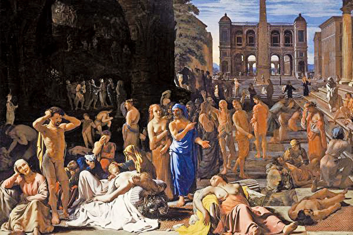 雅典大瘟疫。約1652年至1654年前後由Michiel Sweerts繪製。(公有領域)