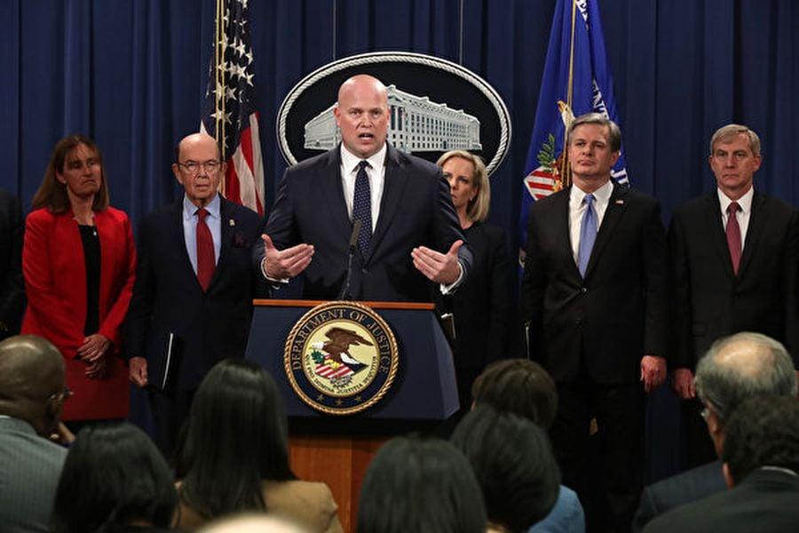 美國司法部等多個部門在2019年1月28日宣佈起訴華為及孟晚舟,並確認向加拿大當局提出引渡孟。(Chip Somodevilla/Getty Images)