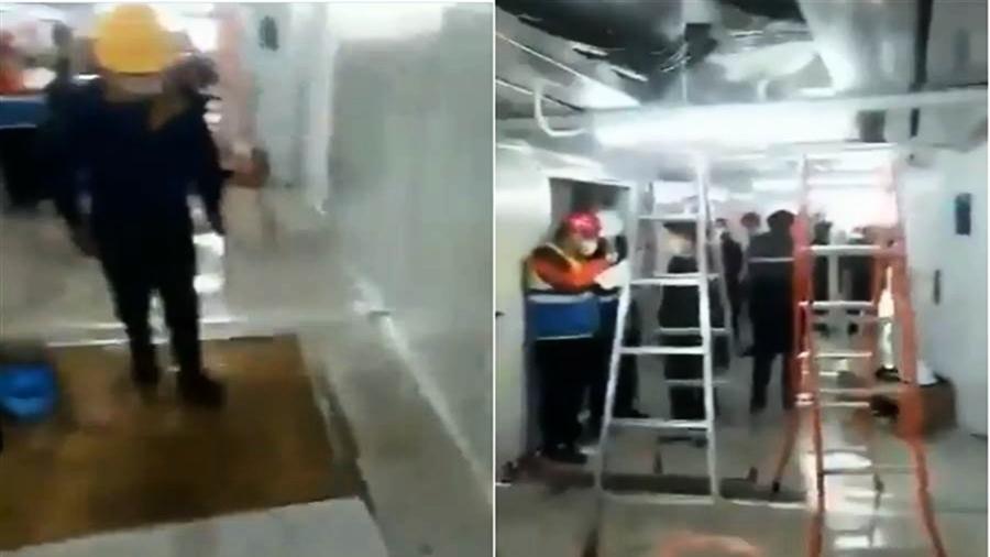 武漢一場雨 雷神山醫院成水簾洞