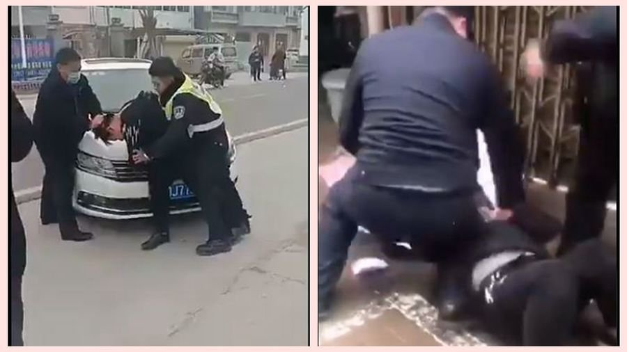 中共警察和一些維穩人員在街上胡亂抓捕沒戴口罩的市民。(影片截圖)