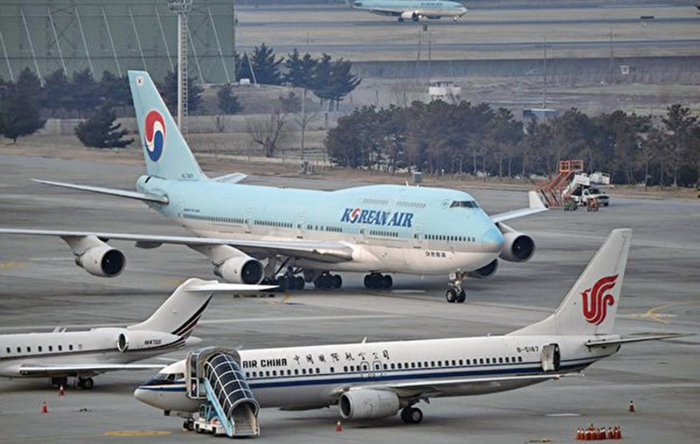 疫情衝擊大陸民航業,中國新年期間各航空公司累計旅客運輸量比去年同期下降70%。( Jung Yeon-je / AFP)