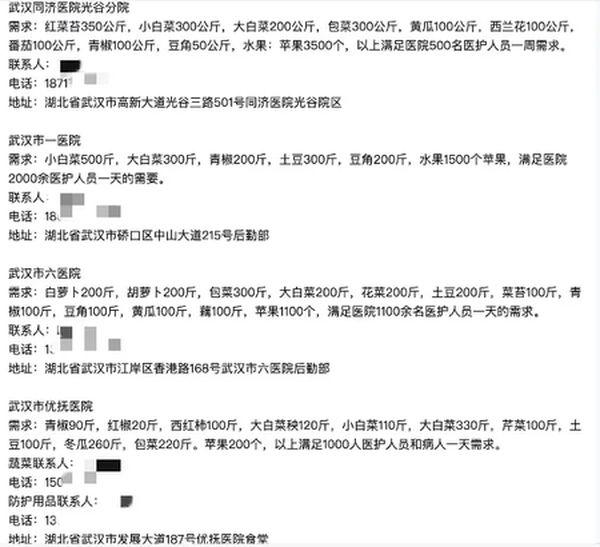 武漢四家醫院食堂向外求助。(網絡)