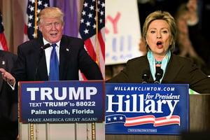 特朗普與希拉莉民調距離拉近 15%變7%