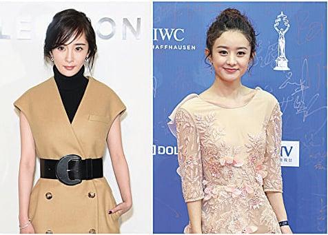大陸女星楊冪(左)與趙麗穎資料照。(Getty Images,大紀元合成)