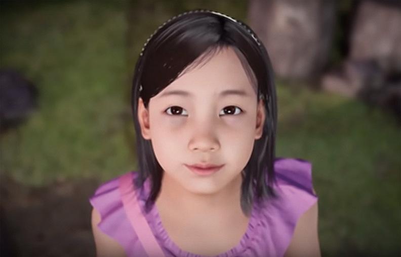 (上圖)虛擬現實中的女兒娜燕。(影片截圖)