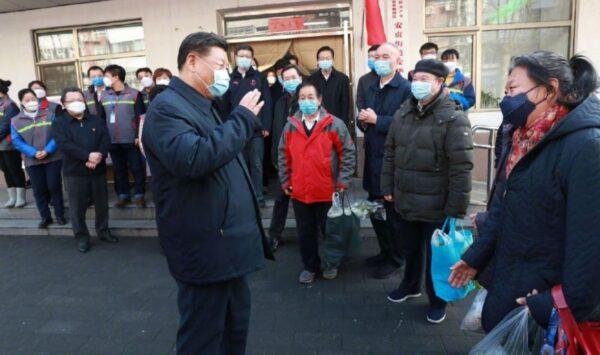 2月10日,習近平、蔡奇等人現身北京街道視察防疫。(微博圖片)